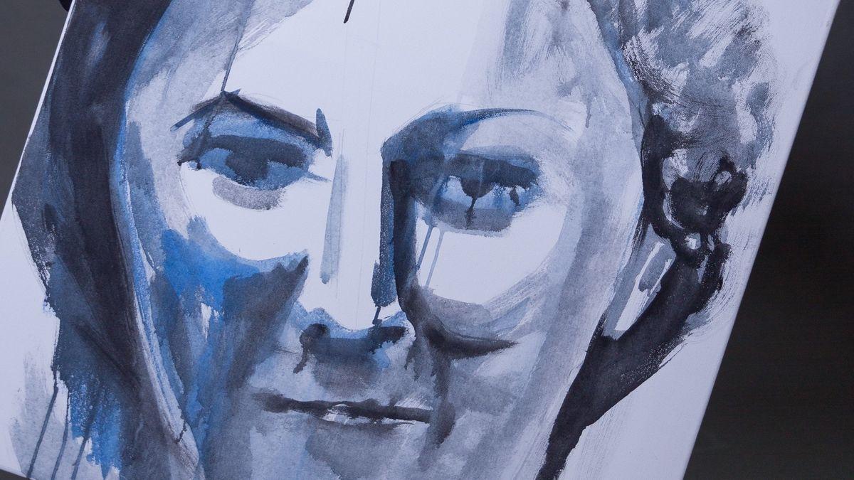 Portrait in blau einer Frau