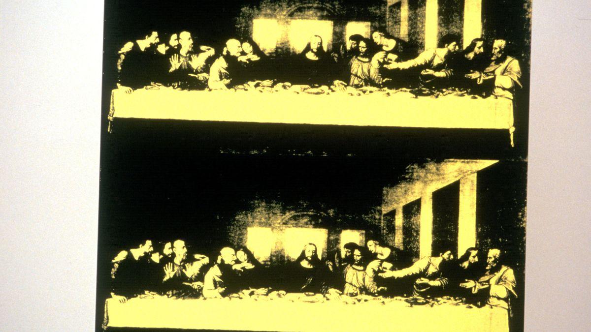 Siebdruck des berühmten Künstlers in schwarz und gelb