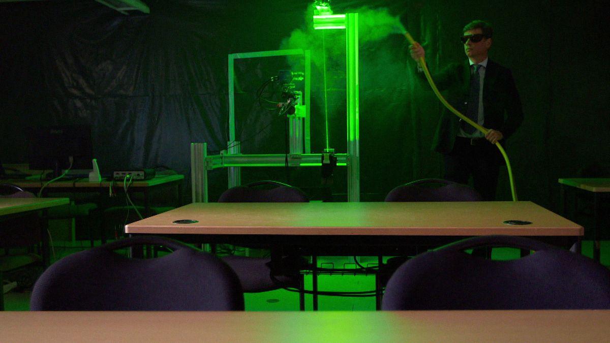 Testaufbau Aerosolkonzentration in einem Klassenzimmer.