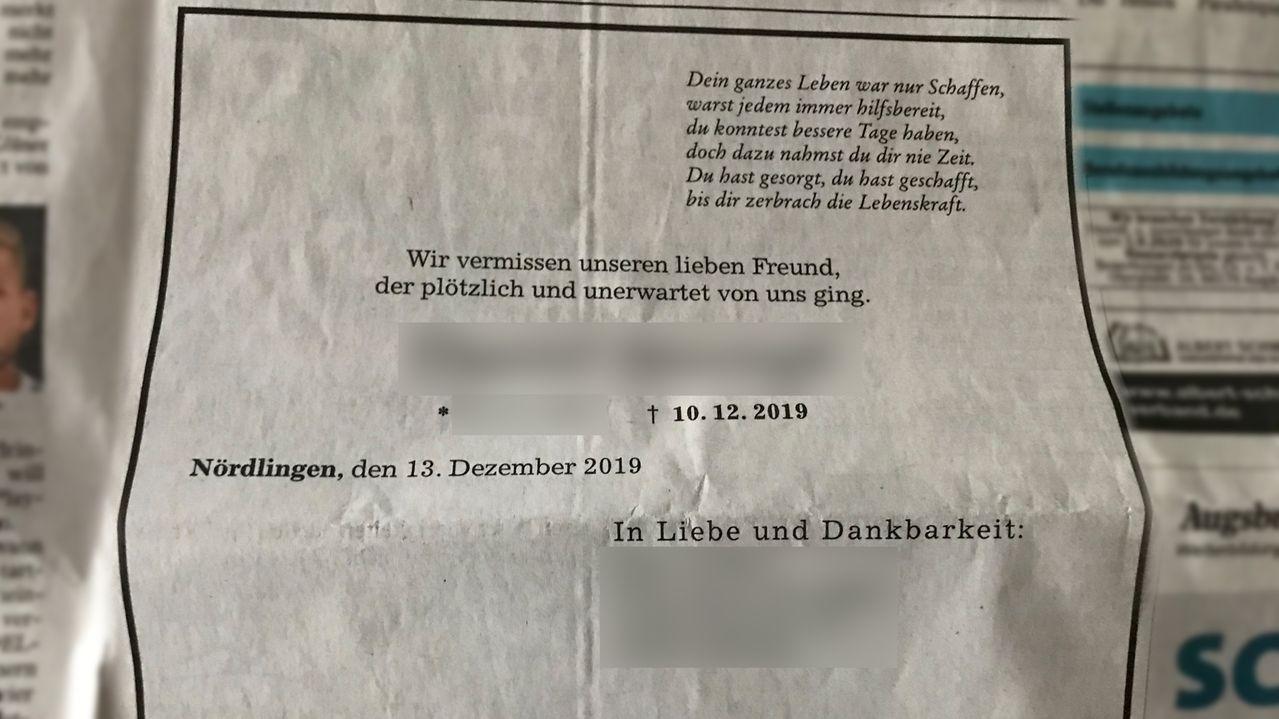 Diese falsche Todesanzeige über einen 13-jährigen Schüler war in der Augsburger Allgemeinen zu lesen.