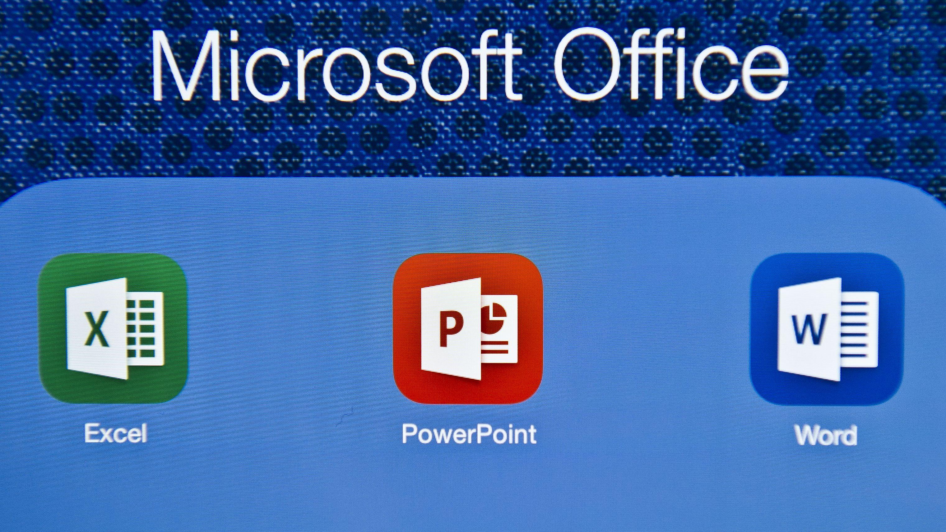 Die Logos von Excel, PowerPoint und Word.