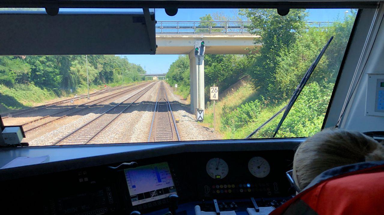 Blick aus dem Cockpit eines Alex-Zuges