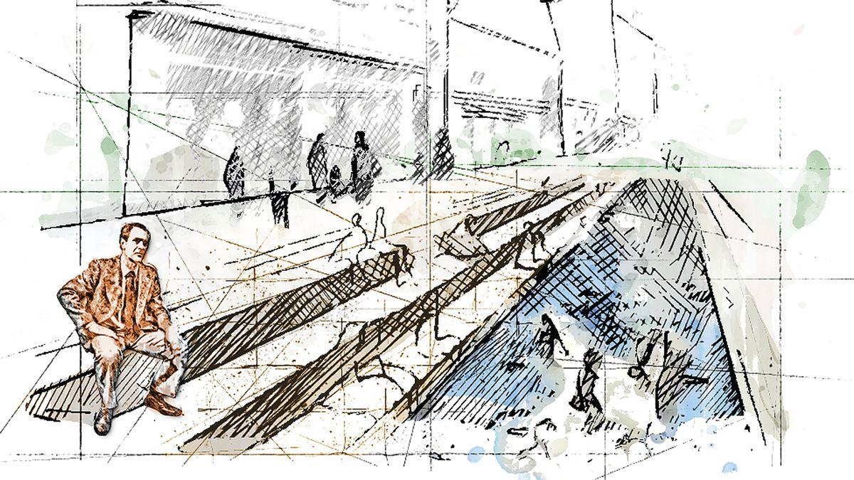 Eine Skizze zeigt Karl Obermayr auf den Stufen der geöffneten Stadtmoosach in Freising