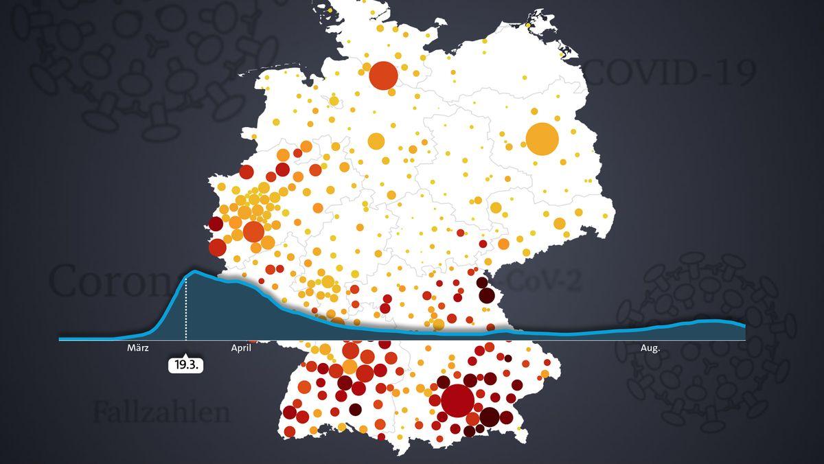 Symbolbild: Momentaufnahme der interaktiven Corona-Fallzahl-Karte
