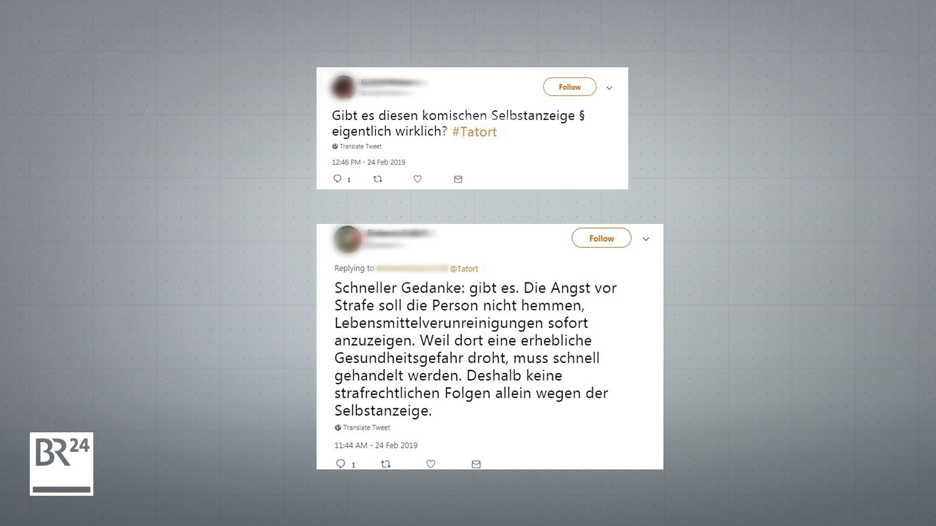 Twitter-Nutzer kommentieren die Frage der Selbstanzeige im Tatort aus Franken