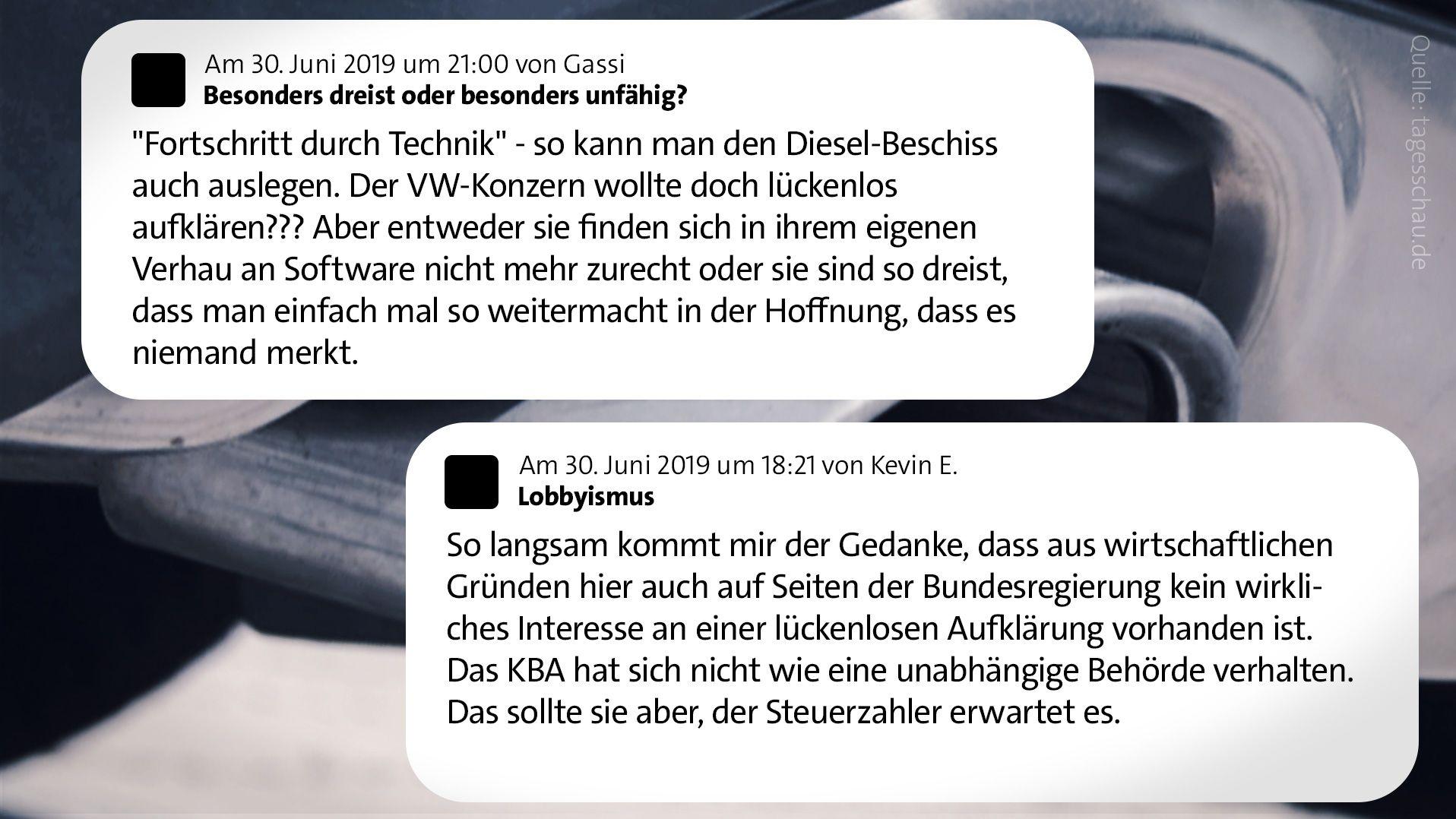 """User-Kommentare auf tagesschau.de zu """"Der Fall Audi"""""""