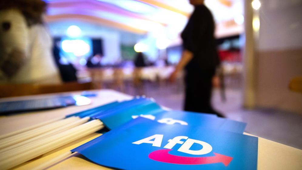 AfD-Fähnchen auf einem Tisch | Bild:pa/dpa/Daniel Karmann