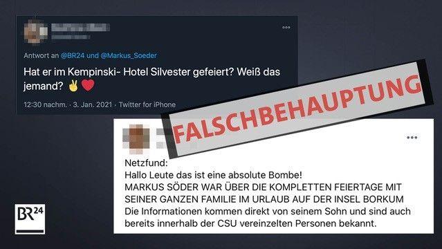 Posts falscher Behauptungen darüber, wo sich Ministerpräsident Söder an Silvester aufgehalten hat.
