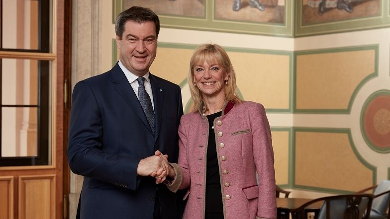 Ministerpräsident Söder mit der künftigen Sozialministerin Carolina Trautner