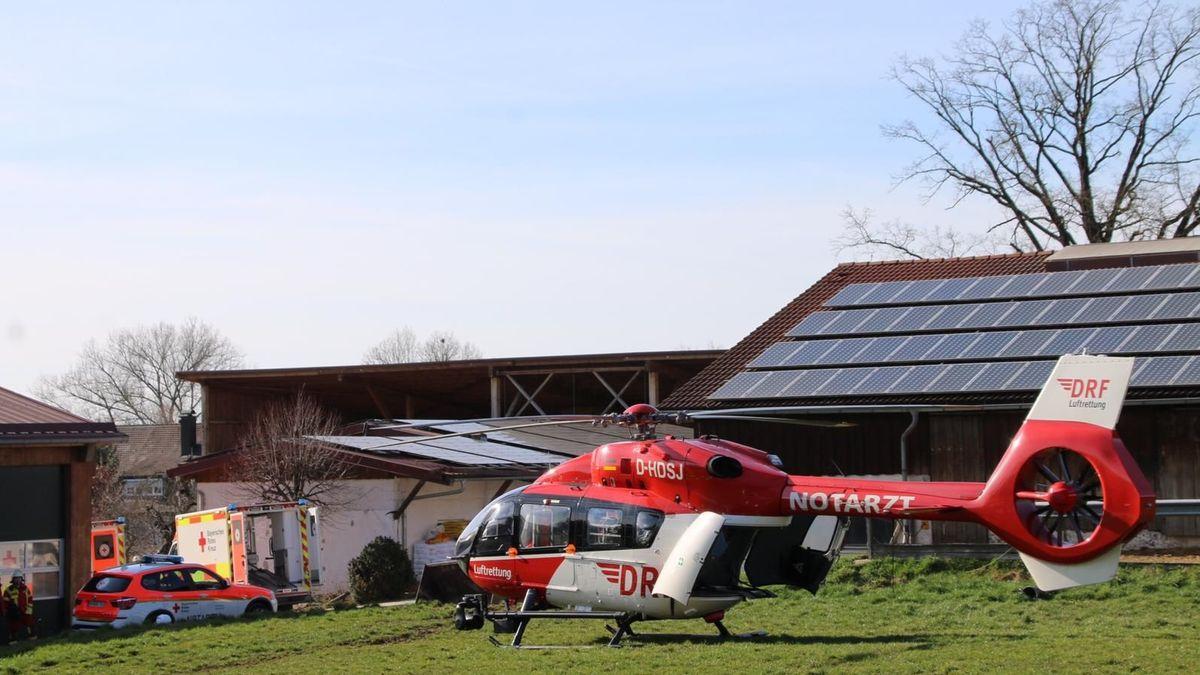 Rettungshubschrauber landet auf Bauernhof in Freystadt