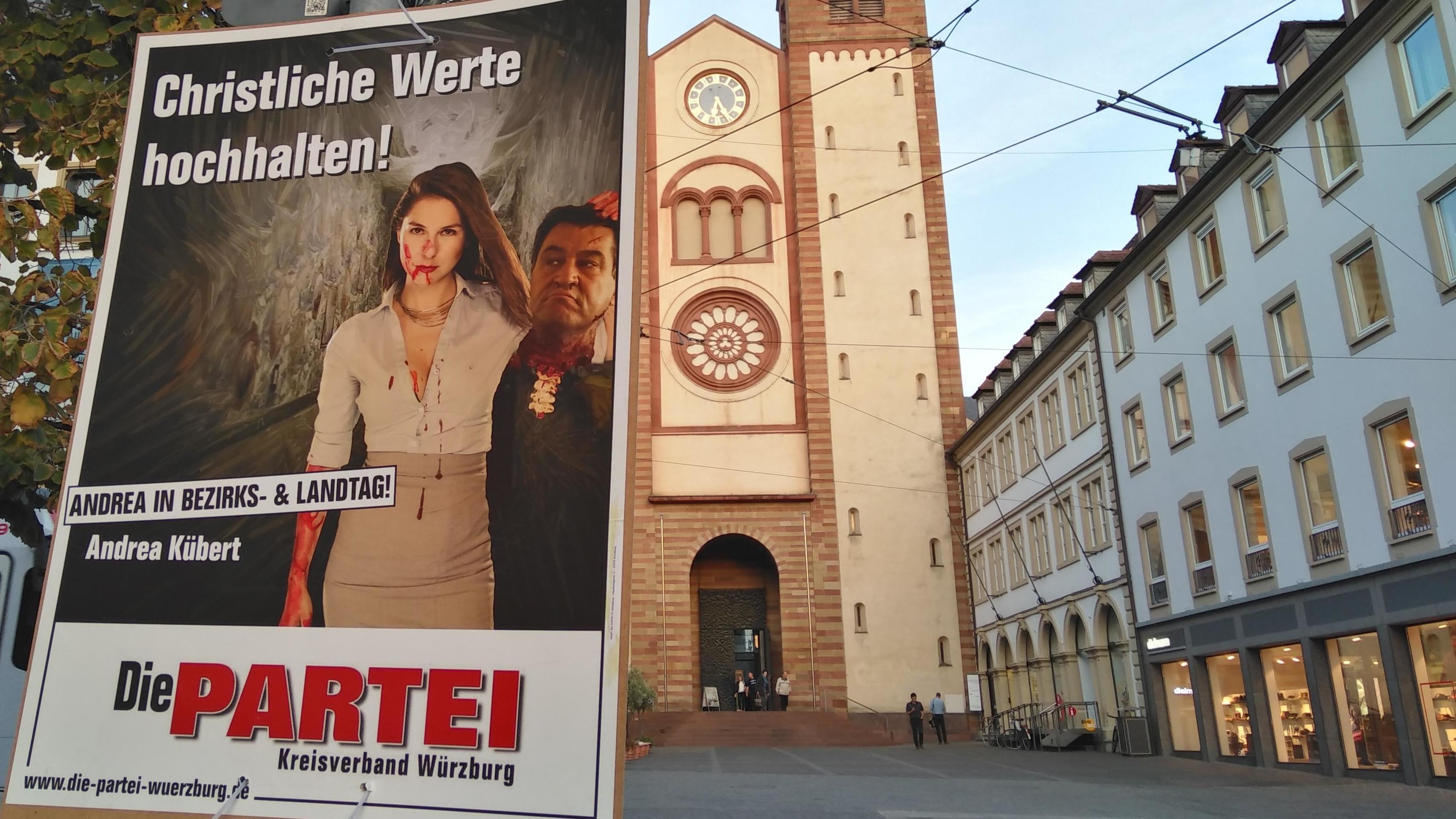 Wahlplakat mit geköpftem Söder