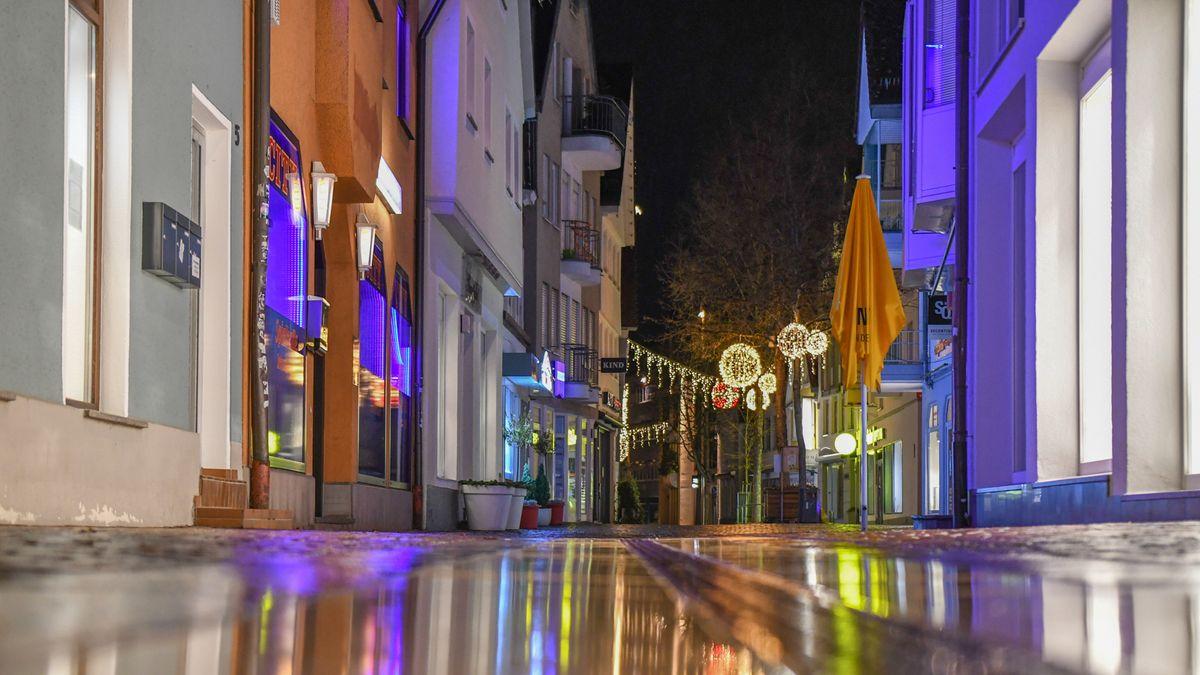 Die menschenleere Innenstadt von Aalen in Baden-Württemberg