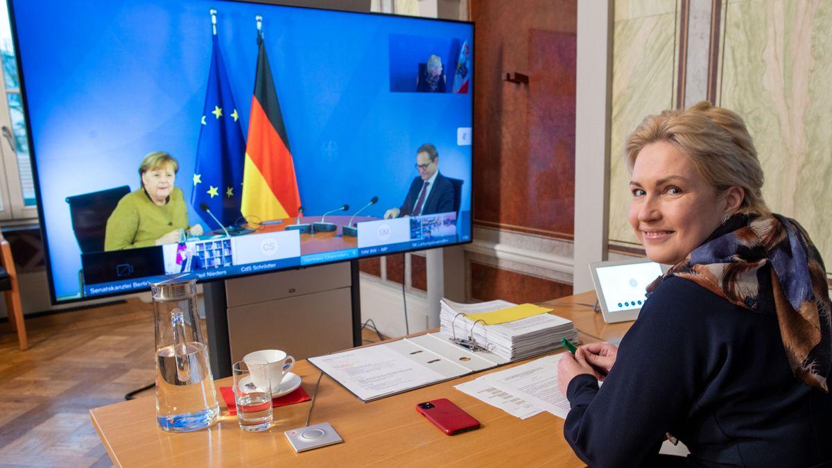 Manuela Schwesig (SPD), die Ministerpräsidentin von Mecklenburg-Vorpommern, beim Corona-Gipfel