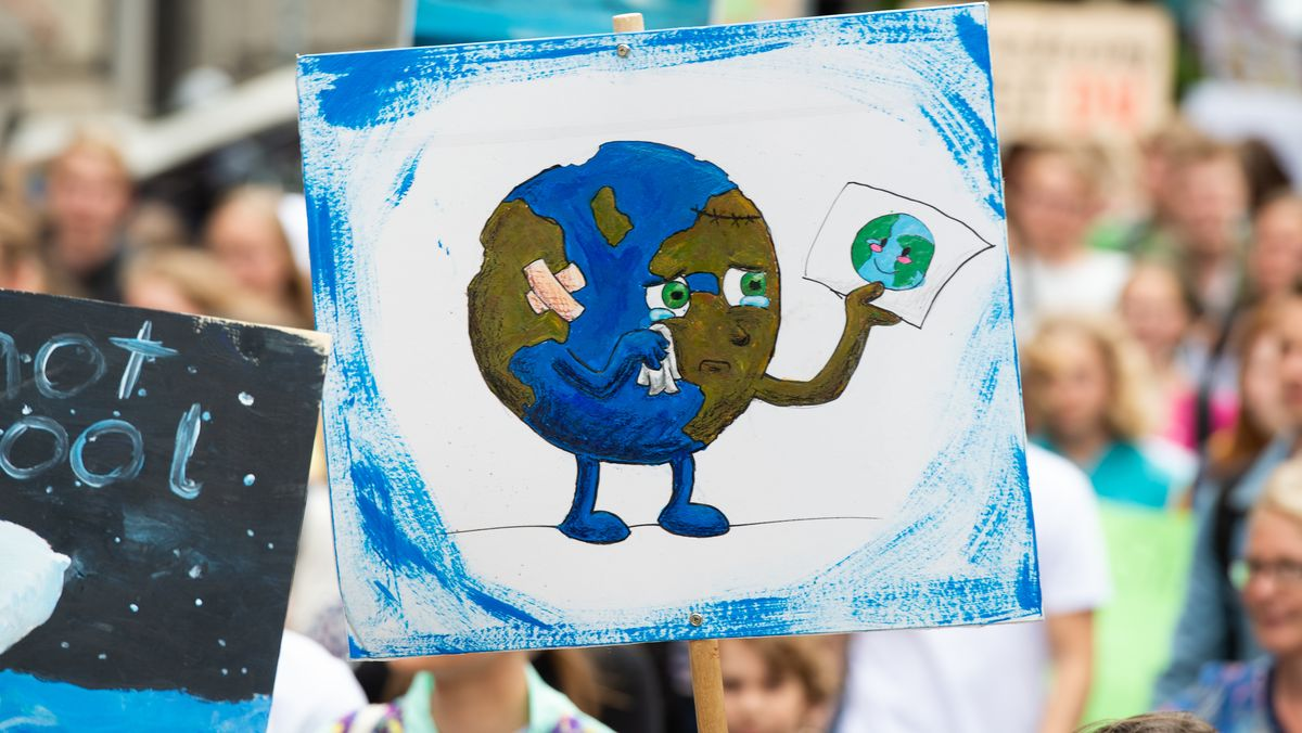 Ein Demonstrant der Bewegung Fridays For Future geht mit einem Plakat mit einer gezeichneten weinenden Erde durch die Stadt