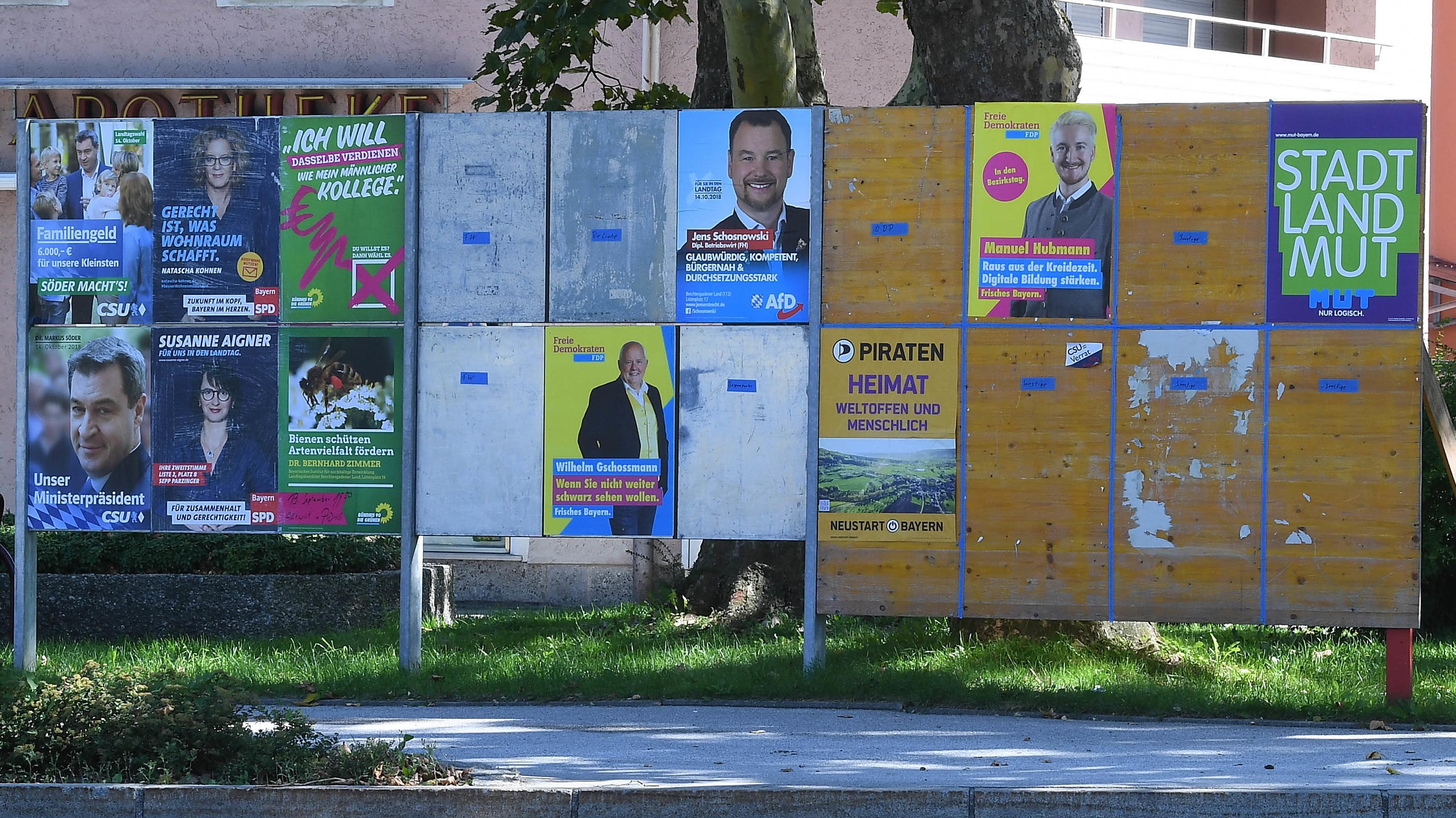 Wahlplakate in Bayern