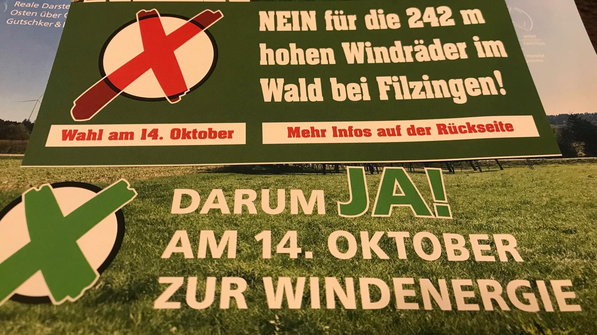 Flyer für und gegen die Windräder bei Altenstadt und Kellmünz