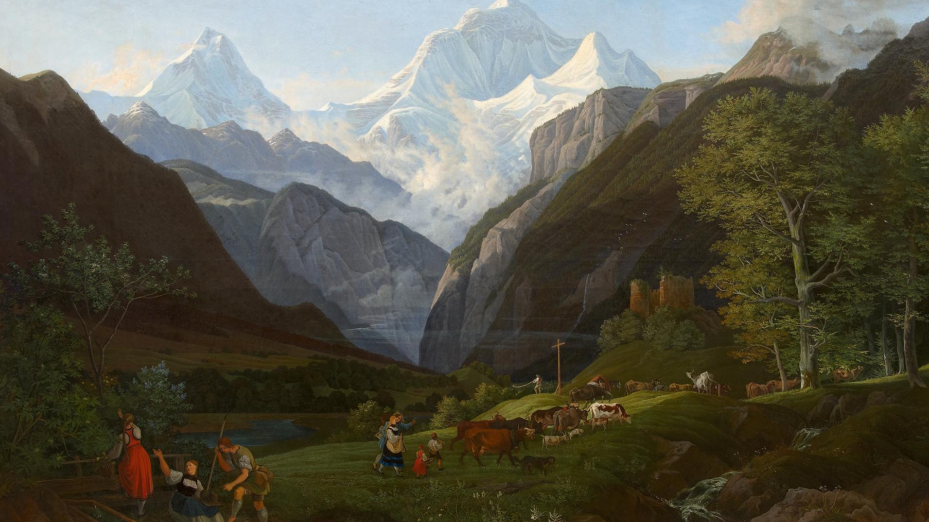 Gemälde einer Alpenlandschaft mit Bauern im Vordergrund