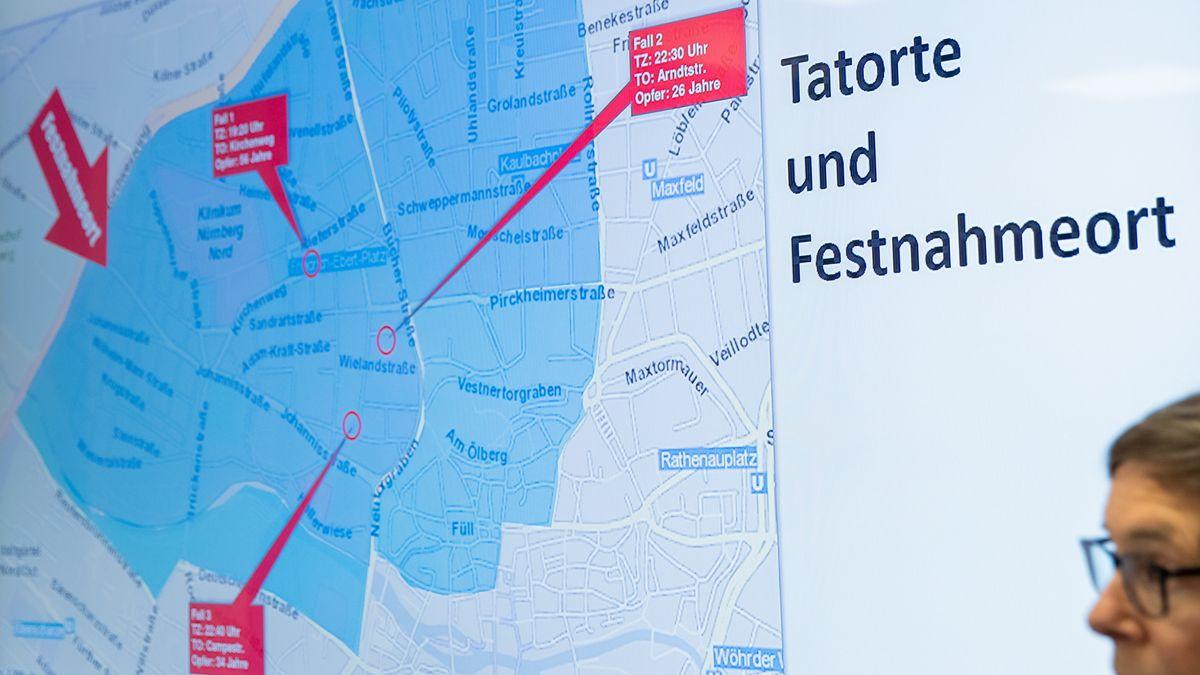 Karte mit den Tatorten des Messerstechers von St. Johannis
