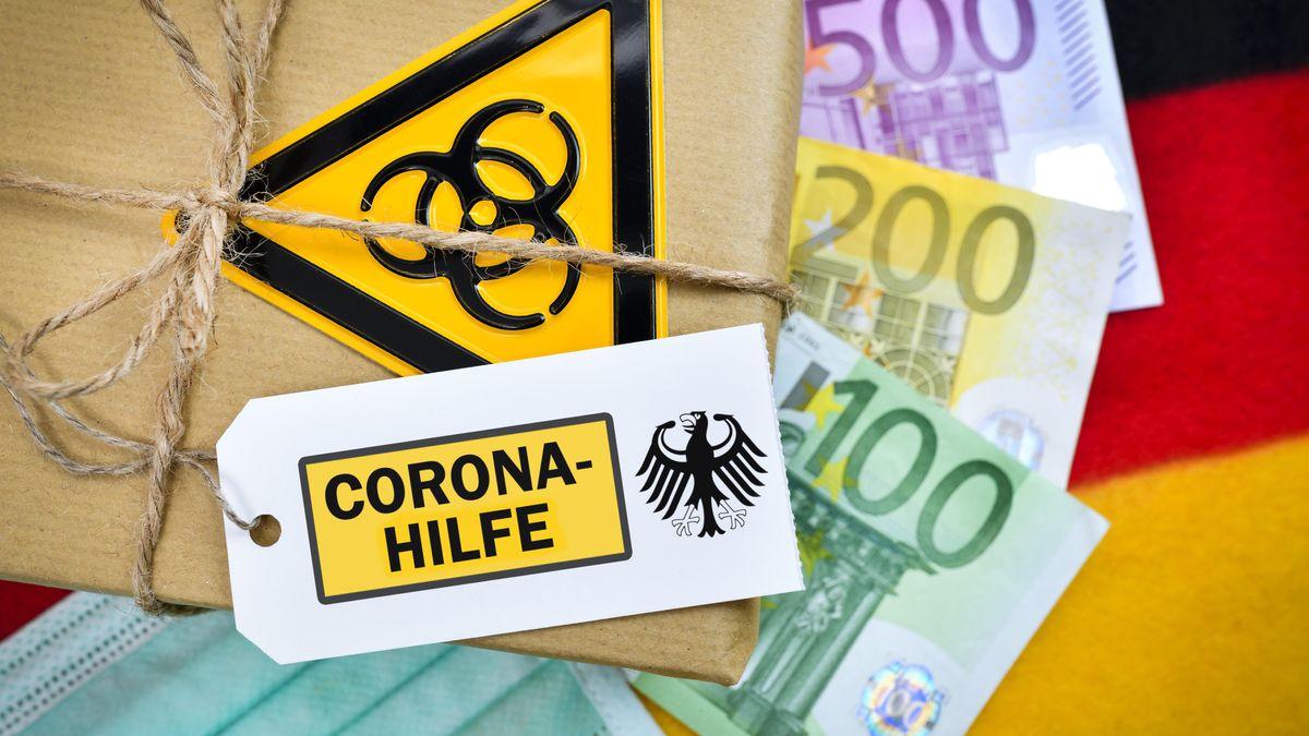"""Eine Fotomontage zeigt Banknoten und ein Paket mit der Aufschrift """"Corona-Hilfe"""" und dem Biogefährdungszeichen"""