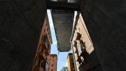 Reste der eingestürzten Brücke in Genua   Bild:dpa-Bildfunk
