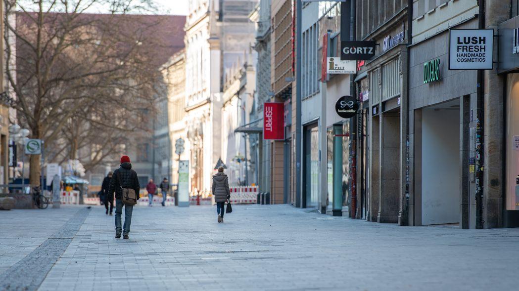 Leere Münchner Fußgängerzone