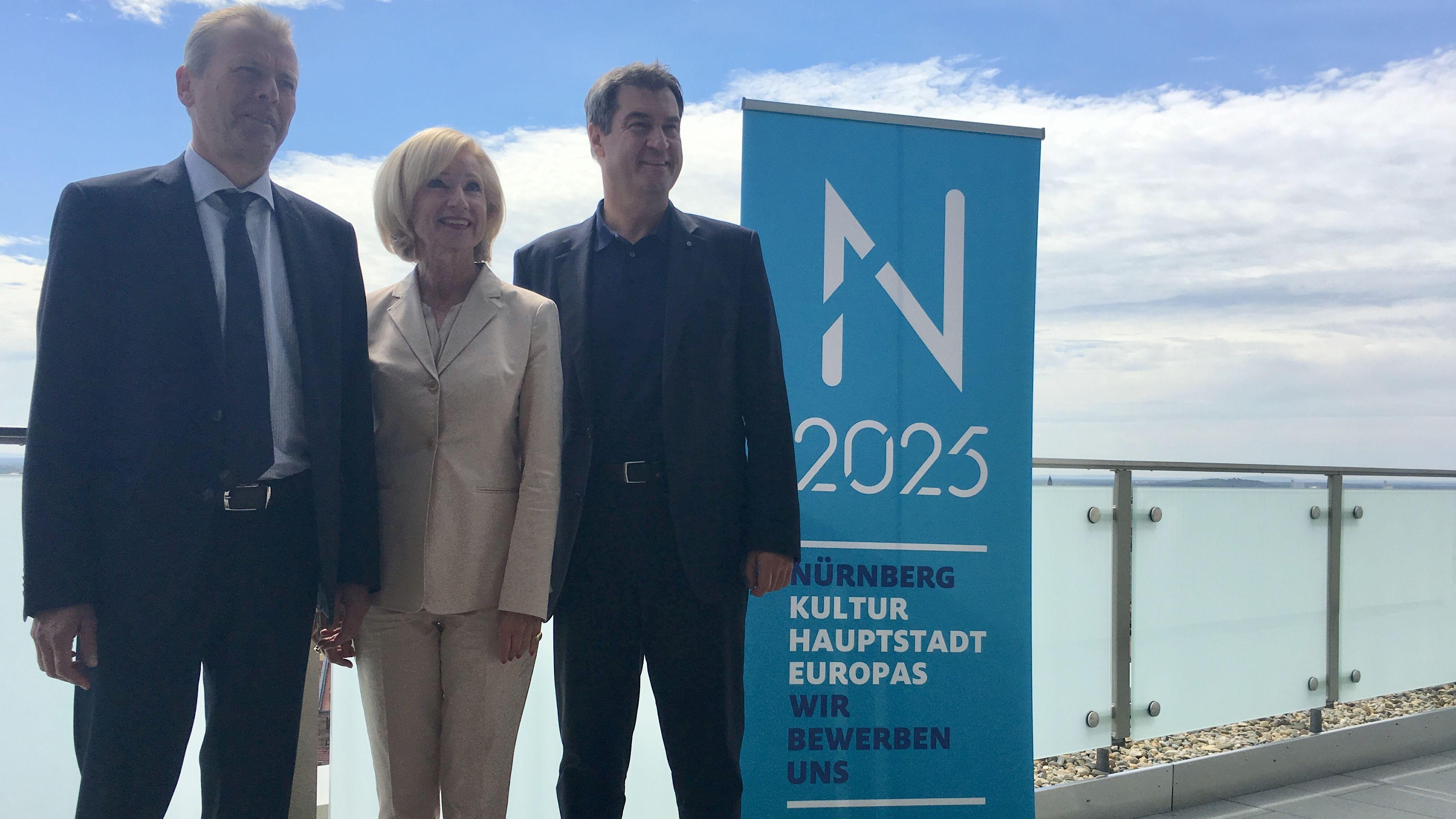 Oberbürgermeister Ulrich Maly, Kulturreferentin Julia Lehner und Ministerpräsident Markus Söder