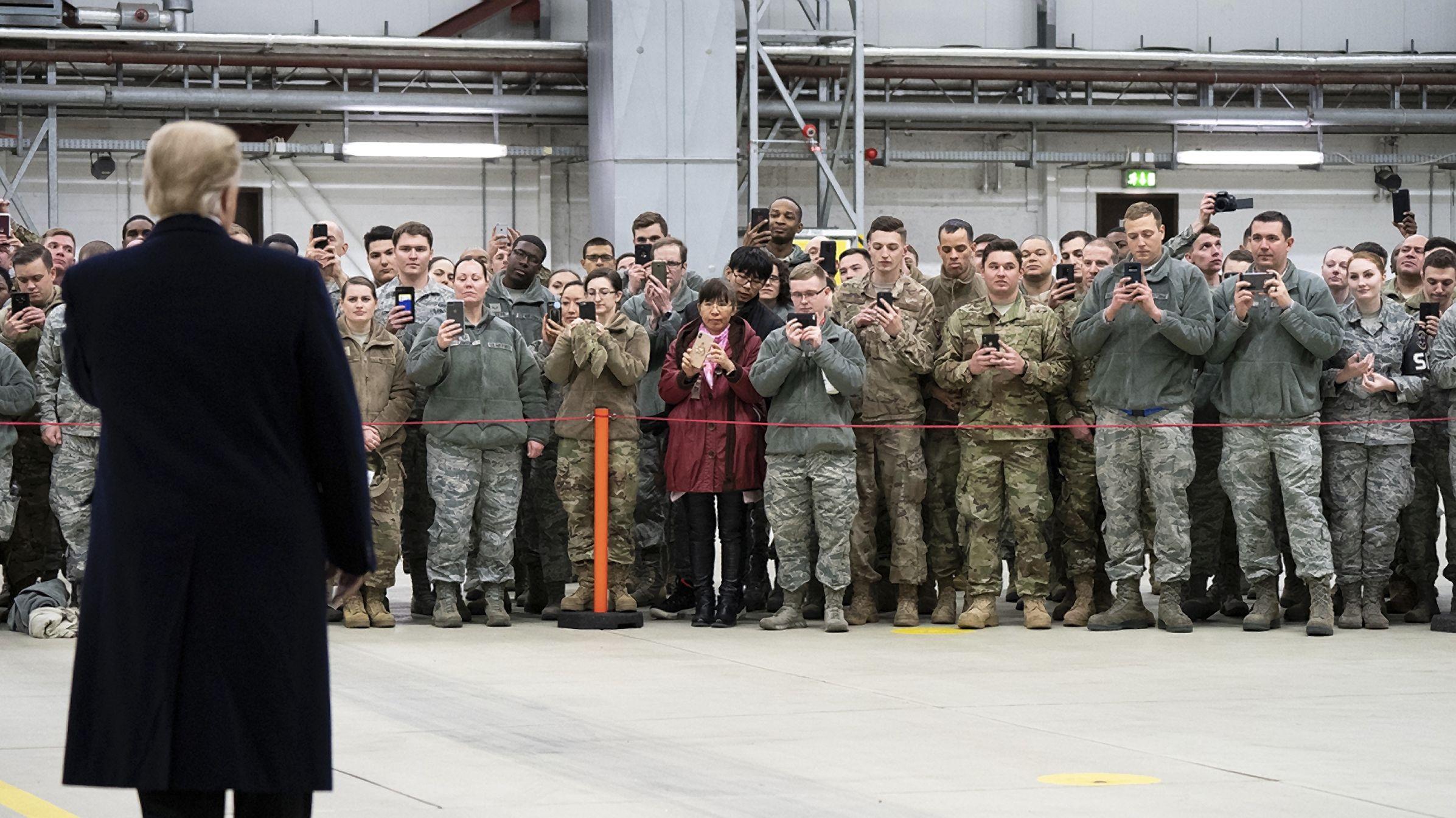 Trump bei einem Besuch der Ramstein Air Base im Jahr 2018.
