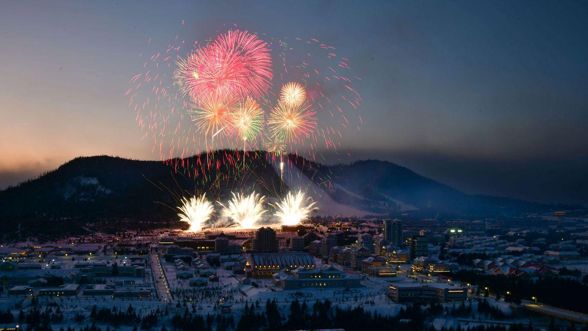 Feuerwerk über der nordkoreanischen Stadt Samjiyon