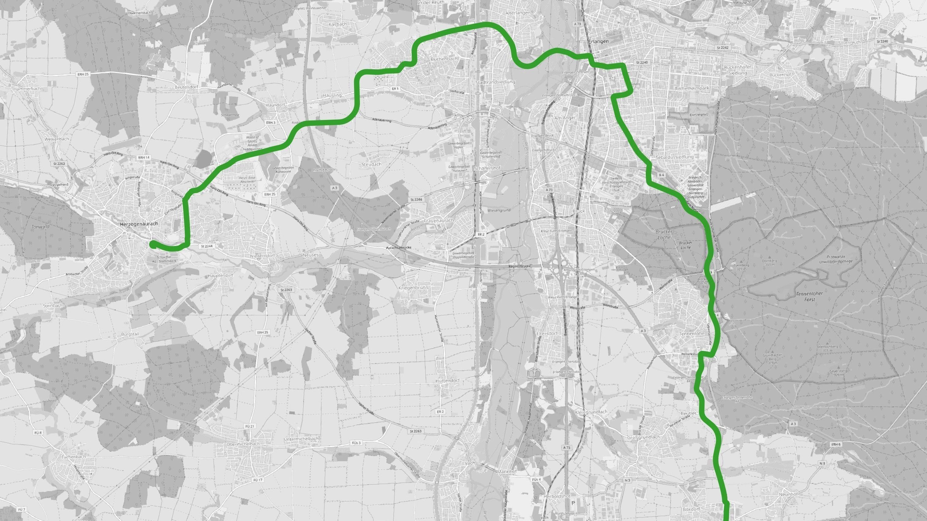 StUB: Empfohlene Vorzugstrasse des Zweckverbands Stadt-Umland-Bahn für das Raumordnungsverfahren