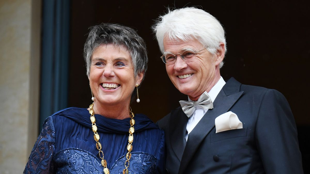 Bayreuths Oberbürgermeisterin Brigitte Merk-Erbe mit Ehemann Thomas Erbe bei der Eröffnung der Bayreuther Festspiele 2017.