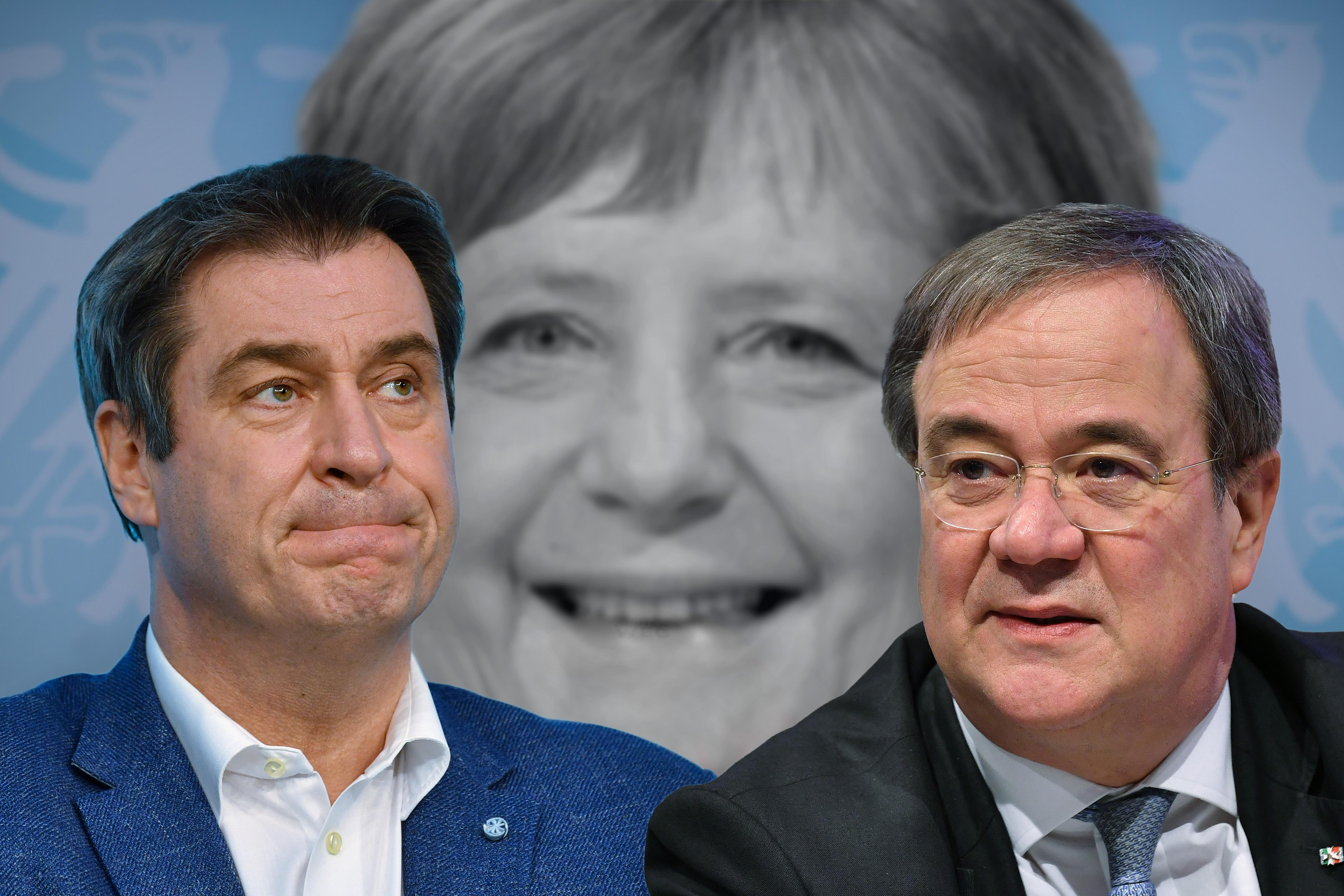 Fotomontage: Der bayerische Ministerpräsident und CSU-Chef Markus Söder, Bundeskanzlerin Angela Merkel (Mitte) und CDU-Chef Armin Laschet.