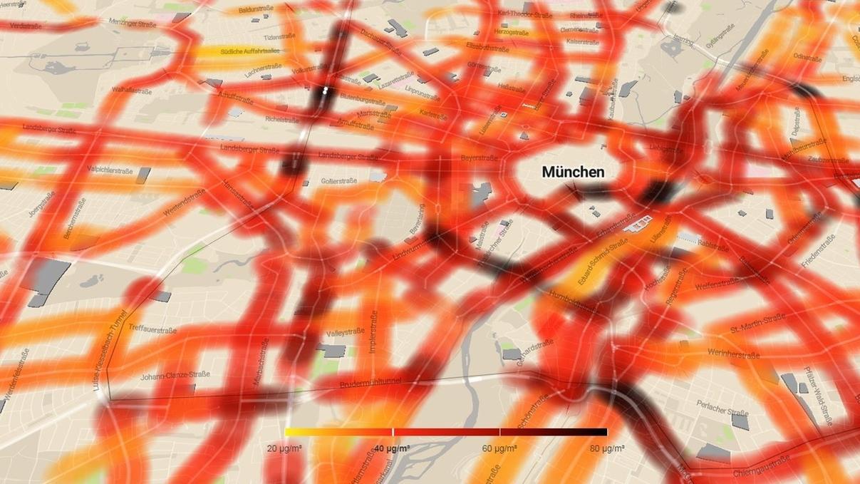 Karte zur Stickoxidbelastung in München