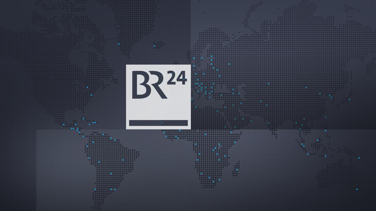 Symbolbild BR24: BR24-Logo auf schwarzem Hintergrund mit Weltkarte und blauen Highlight-Punkten
