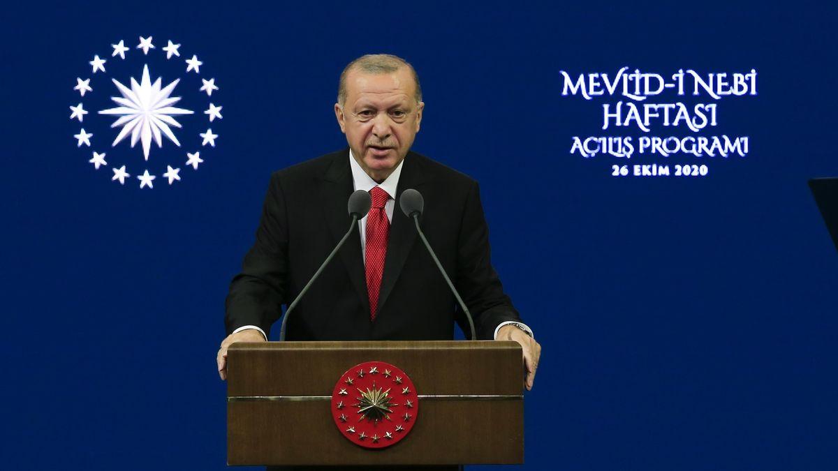 Der türkische Präsident Recep Tayyip Erdogan bei der Eröffnungsrede der Maulid an-Nabī-Woche am 26. Oktober in Ankara