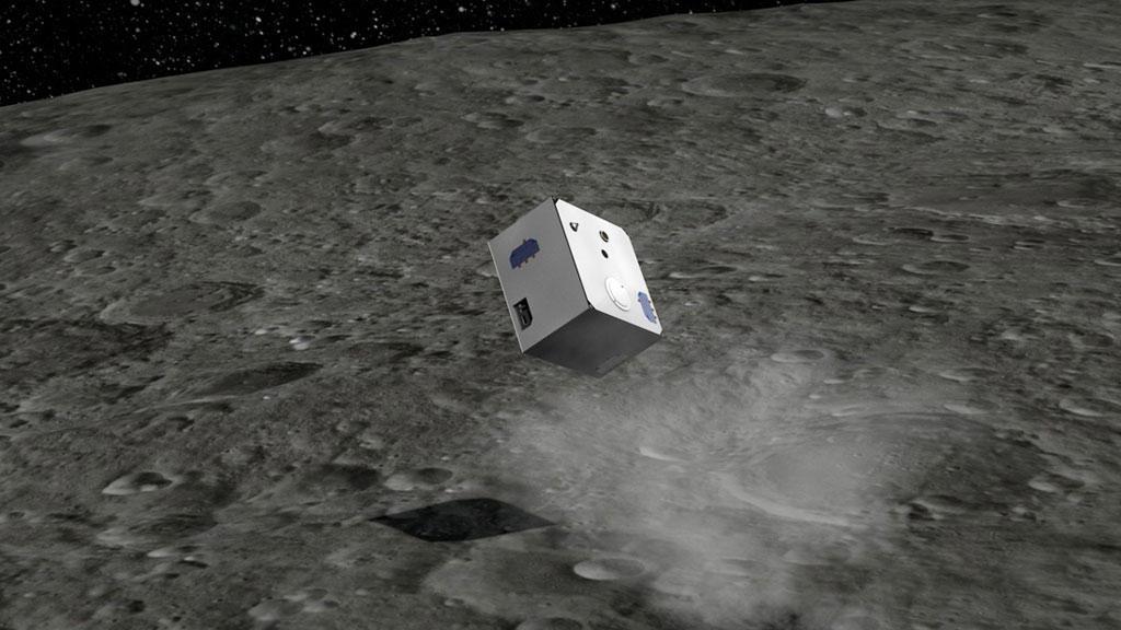 Deutsches Landegerät MASCOT, auf der Oberfläche des Asteroiden Ryugu hüpfend (künstlerische Darstellung)