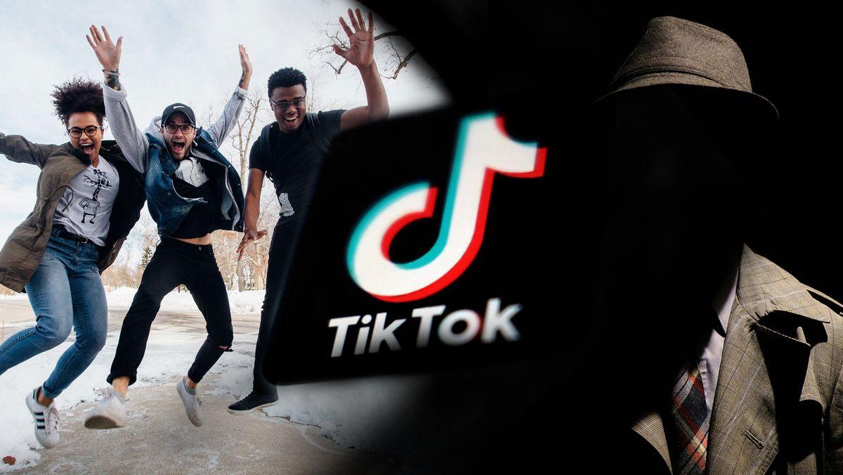 Der Schriftzug der TikTok-App in Weiss auf schwarzem Untergrund, links davon drei Jugendliche, rechts davon ein verschatteter Mafioso