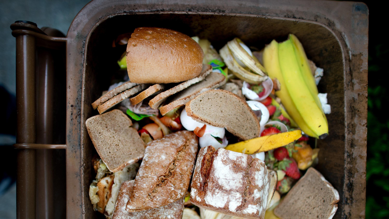 In einer braunen Biomülltonne liegen Lebensmittel wie Brot.