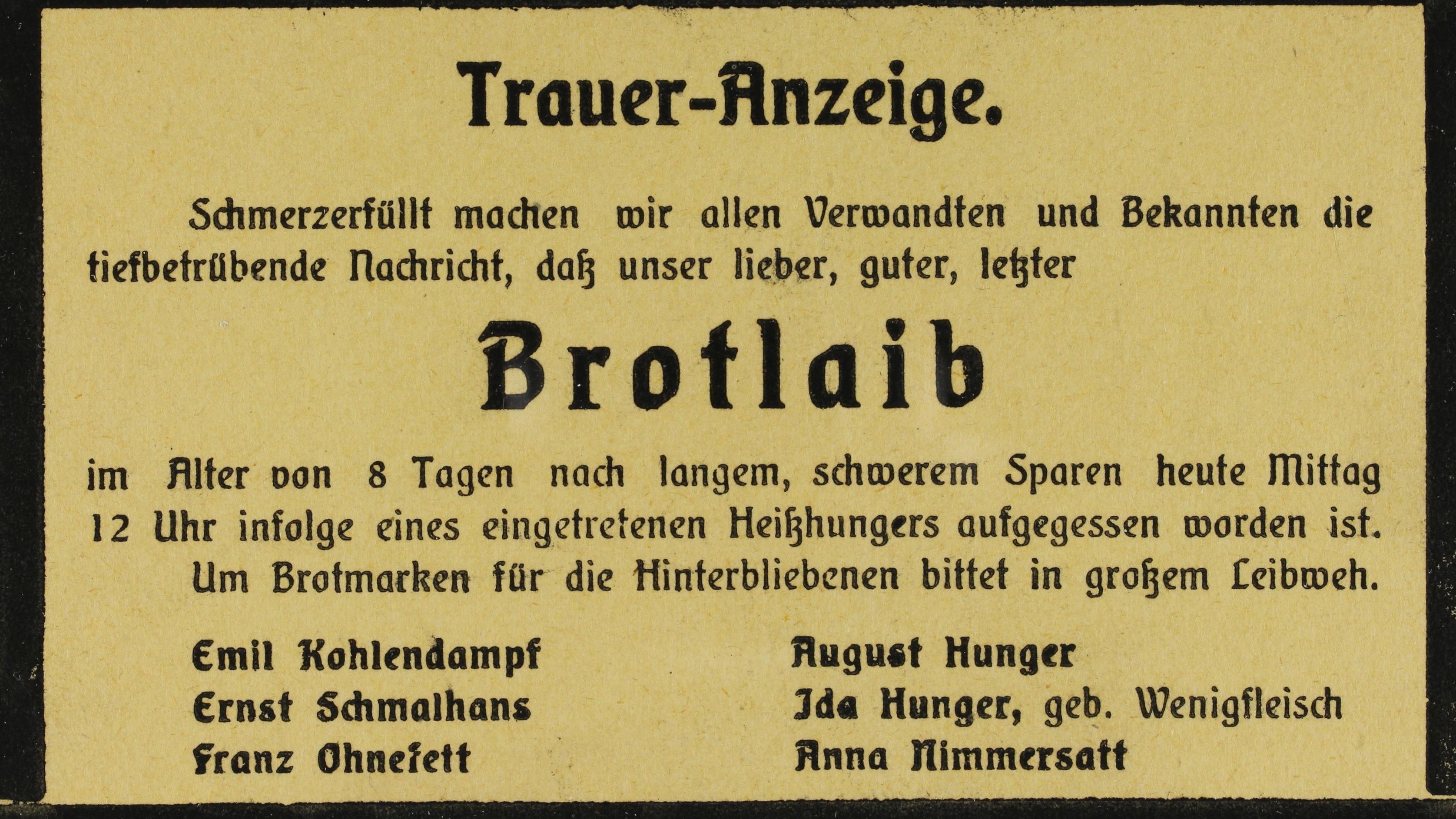 """Sarkastische """"Traueranzeige"""" 1918"""