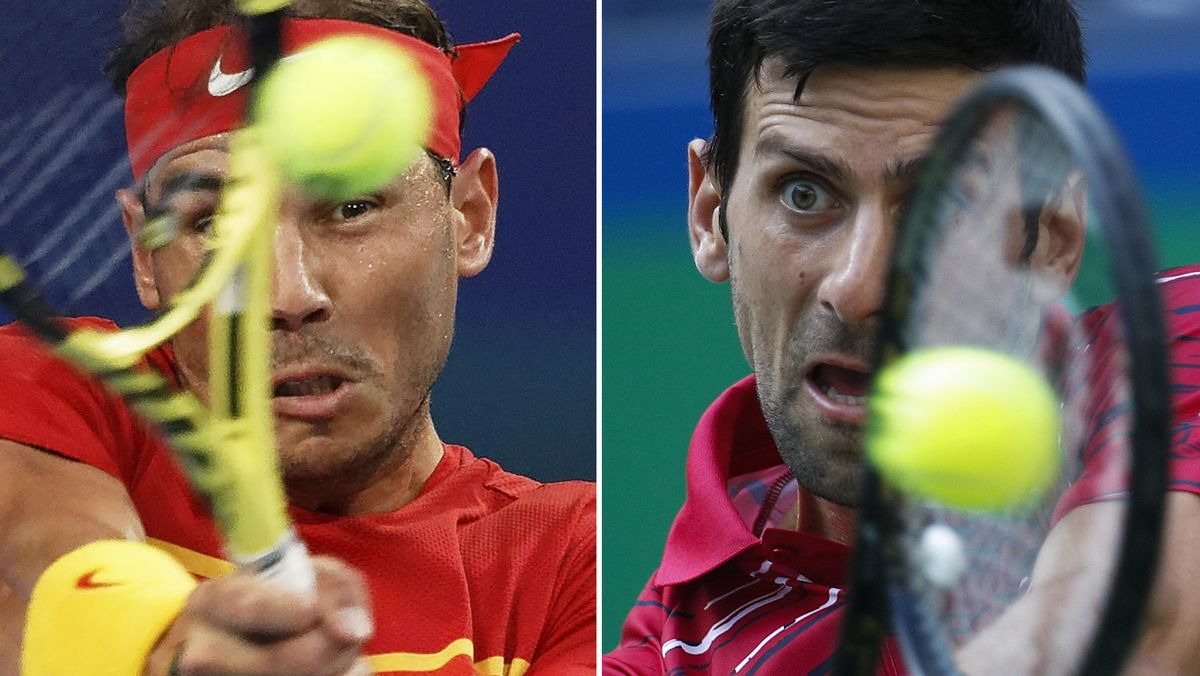 Fotomontage: Tennisprofis Rafael Nadal und Novak Djokovic