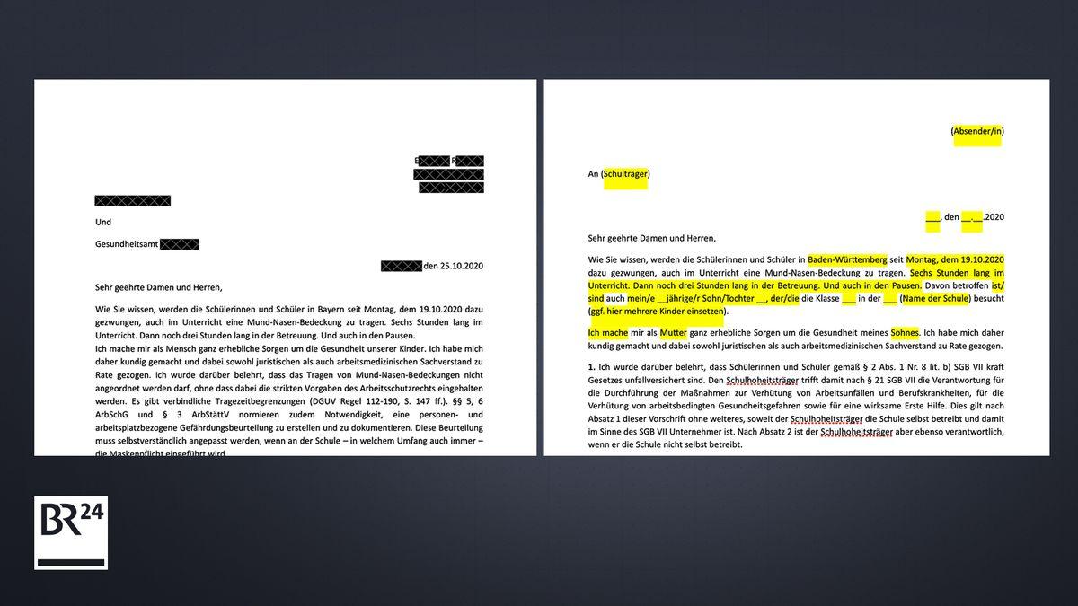 Links: ein Schreiben Behörde  und Gesundheitsamt. Rechts das Original aus Telegram-Kanälen - man solle lediglich die gelb-markierten Teile anpassen und verschicken.