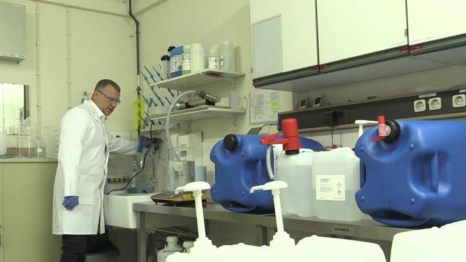 Desinfektionsmittel-Produktion bei Osram