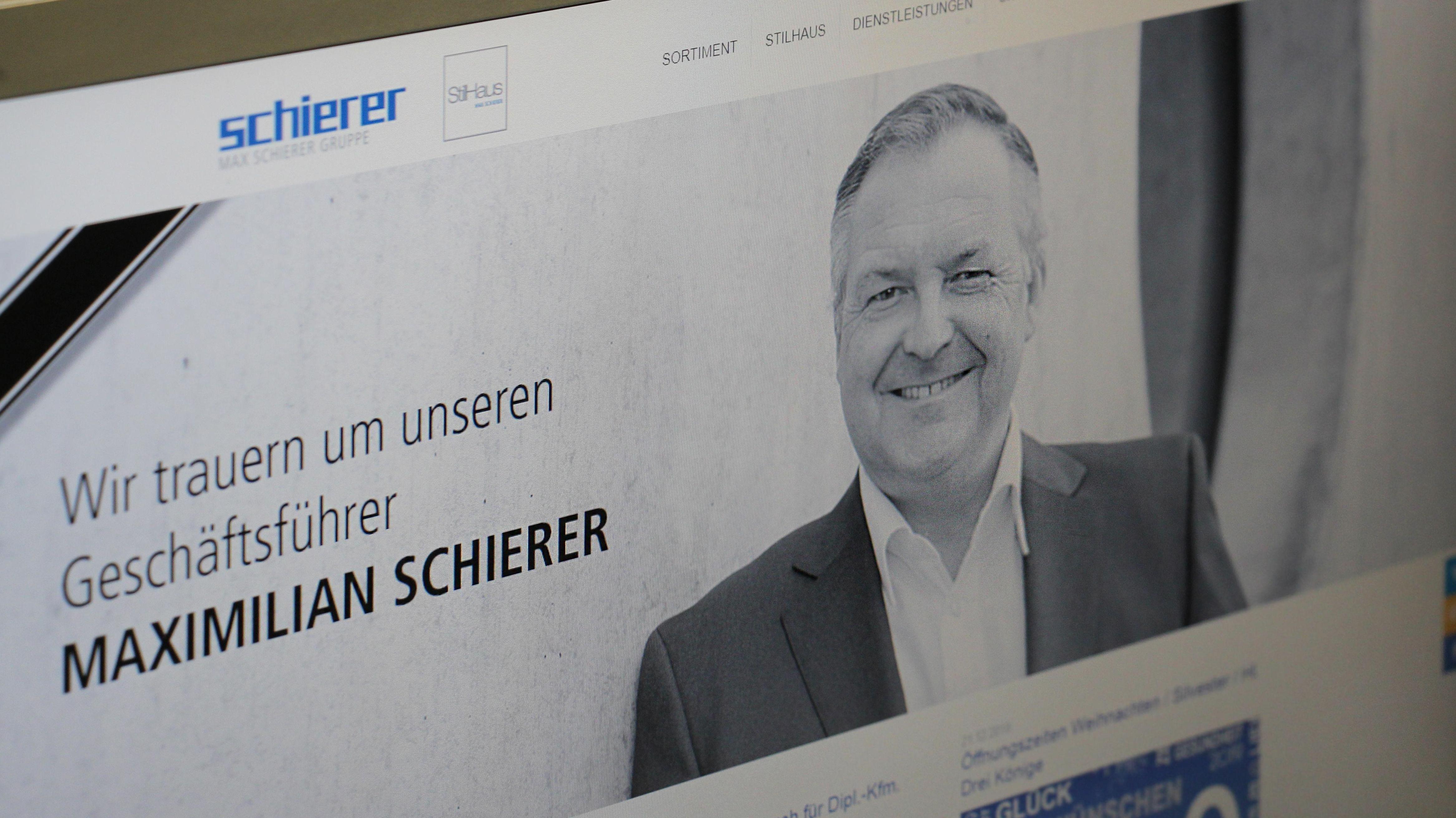 Trauer auf der Homepage der Firma Max Schierer