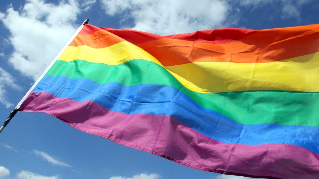 Die Regenbogenfahne weht während eines Umzugs zum Christopher Street Day (CSD)