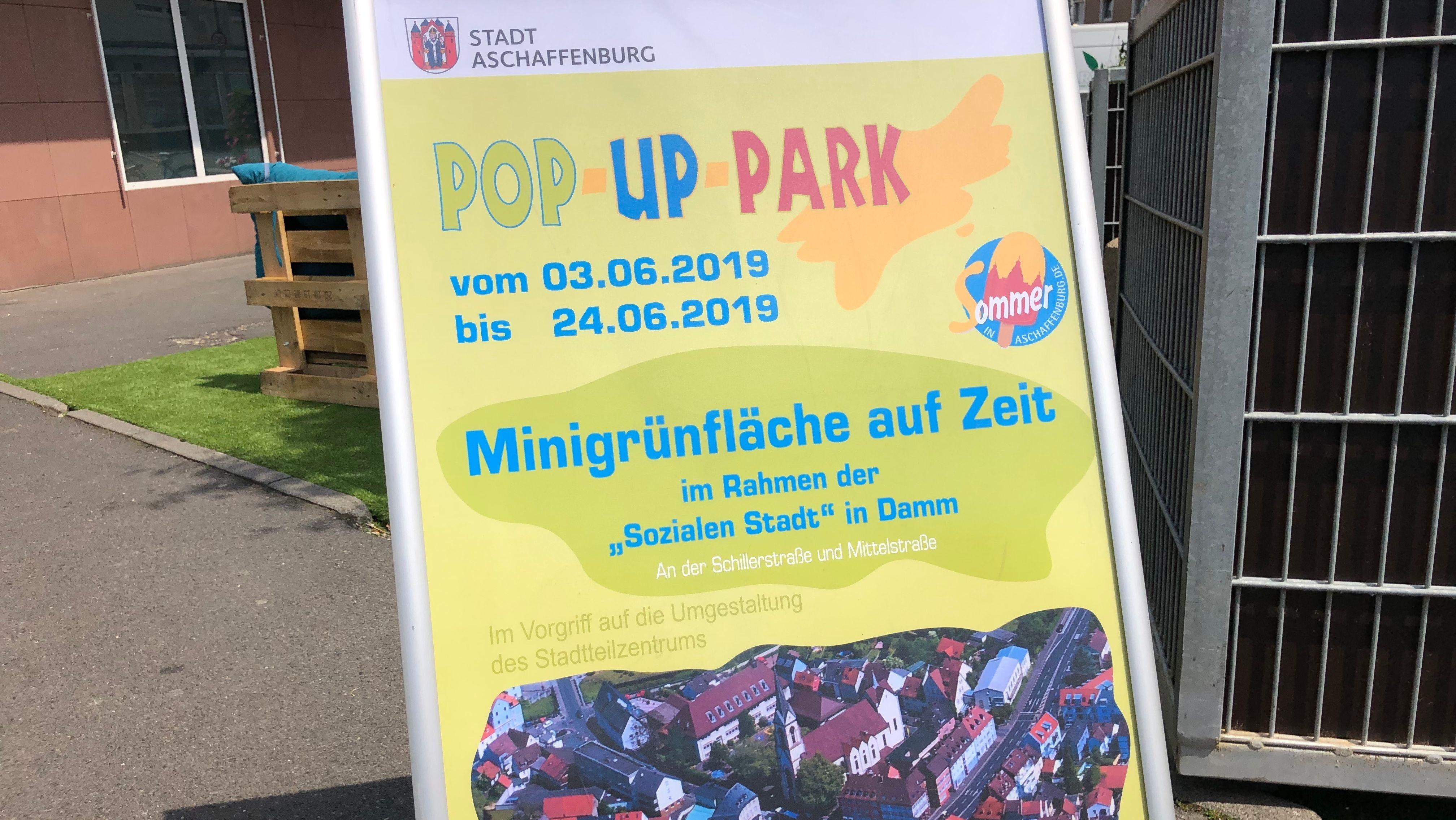 Plakat für Pop-Up Park in Aschaffenburg