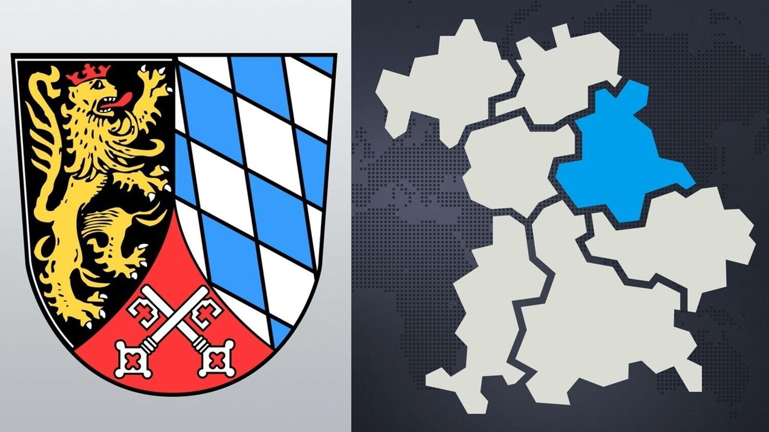 Eine Landkarte zeigt Bayern mit den sieben Regierungsbezirken, daneben das Oberpfalz-Wappen.