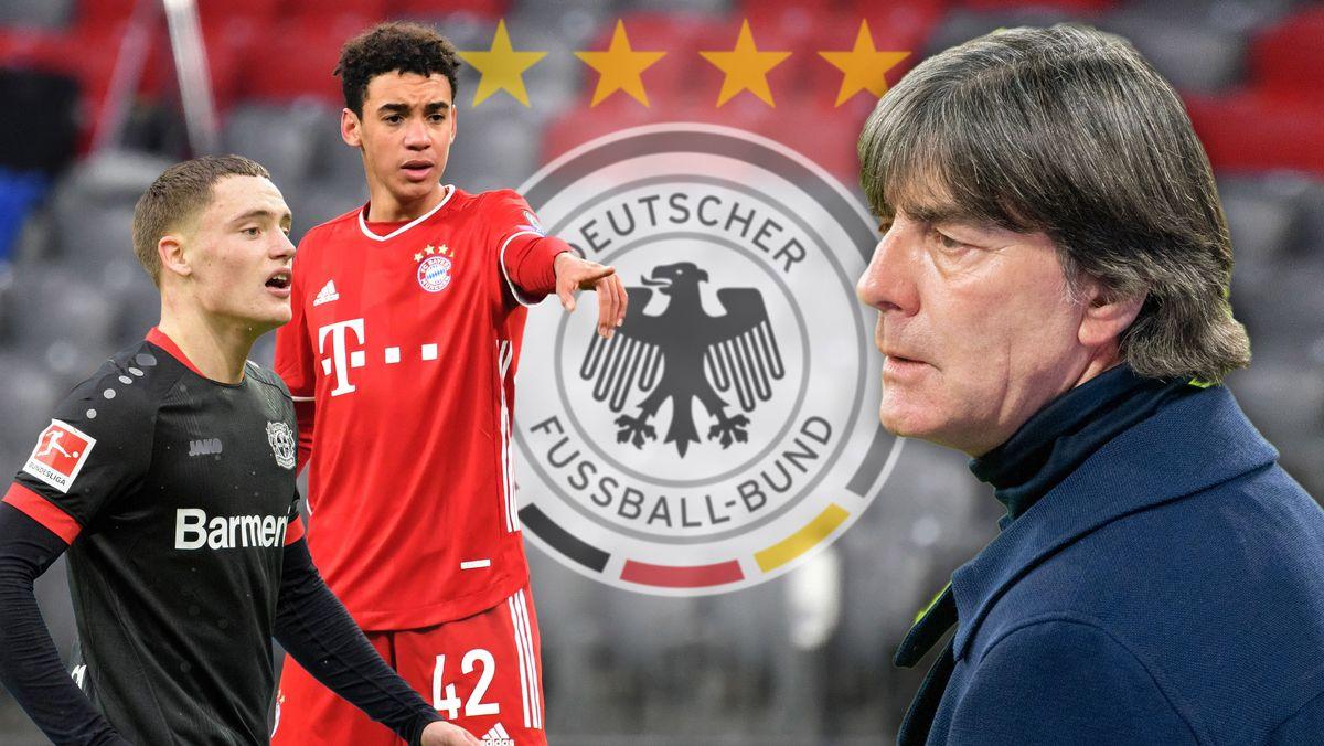 Fotomontage: Bundestrainer Joachim Löw (re.) beruft den Leverkusener Florian Wirtz (li.) und Jamal Musiala (FC Bayern) erstmals ins DFB-Team.