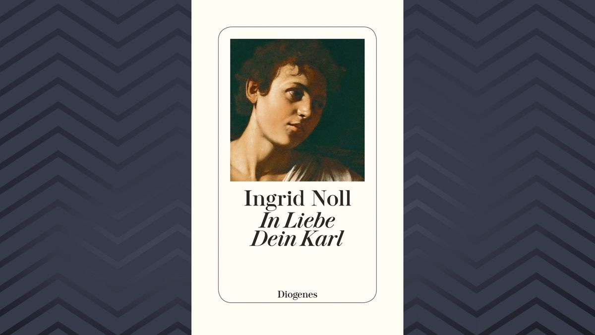 """Buchcover """"In Liebe Dein Karl"""" von Ingrid Noll: Schwarze Schrift auf weißem Grund mit Ausschnitt eines historischen Gemäldes (Kopf eines jungen Mannes)"""
