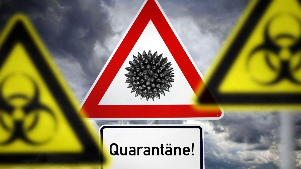 Gefahrenzeichen mit der Aufschrift Quarantäne (Symbolbild)