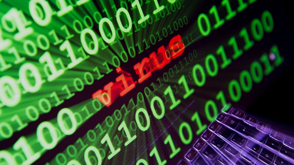 """Auf einem Computerbildschirm steht das Wort """"Virus"""" zwischen vielen Zahlen"""