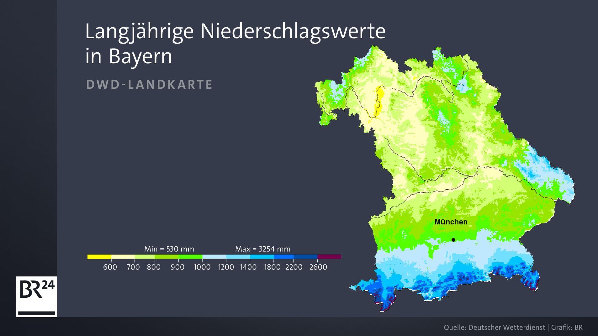 Unterschiedliche Niederschlagswerte in Bayern: Im Süden regnet es erheblich mehr